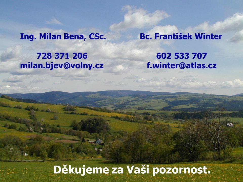 Děkujeme za Vaši pozornost. Ing. Milan Bena, CSc. 728 371 206 milan.bjev@volny.cz Bc. František Winter 602 533 707 f.winter@atlas.cz