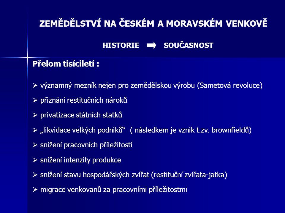 ZEMĚDĚLSTVÍ NA ČESKÉM A MORAVSKÉM VENKOVĚ Přelom tisíciletí :  významný mezník nejen pro zemědělskou výrobu (Sametová revoluce)  přiznání restituční