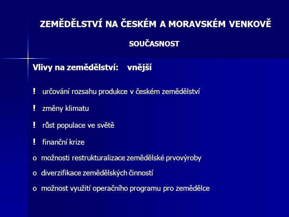 ZEMĚDĚLSTVÍ NA ČESKÉM A MORAVSKÉM VENKOVĚ SOUČASNOST Vlivy na zemědělství: vnější ! určování rozsahu produkce v českém zemědělství ! změny klimatu ! r