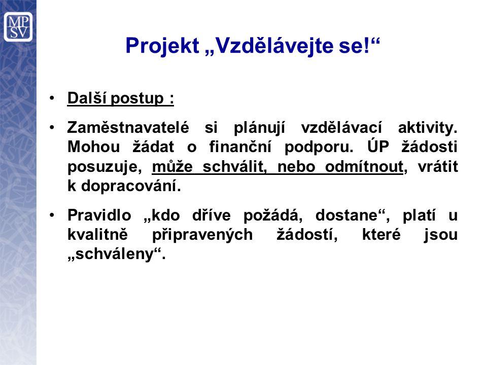 """Projekt """"Vzdělávejte se! Další postup : Zaměstnavatelé si plánují vzdělávací aktivity."""