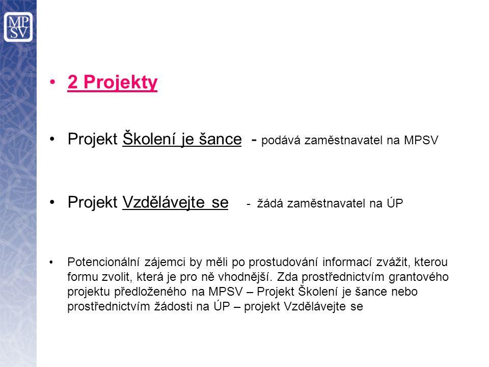 2 Projekty Projekt Školení je šance - podává zaměstnavatel na MPSV Projekt Vzdělávejte se - žádá zaměstnavatel na ÚP Potencionální zájemci by měli po prostudování informací zvážit, kterou formu zvolit, která je pro ně vhodnější.