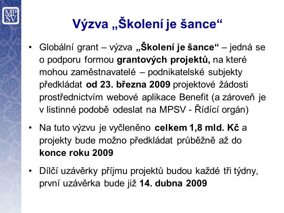 """Výzva """"Školení je šance Způsob realizace Žádost bude přístupná pro vyplnění on-line přímo na internetových stránkách www.eu-zadost.cz nebo www.eu-zadost.eu od 23."""