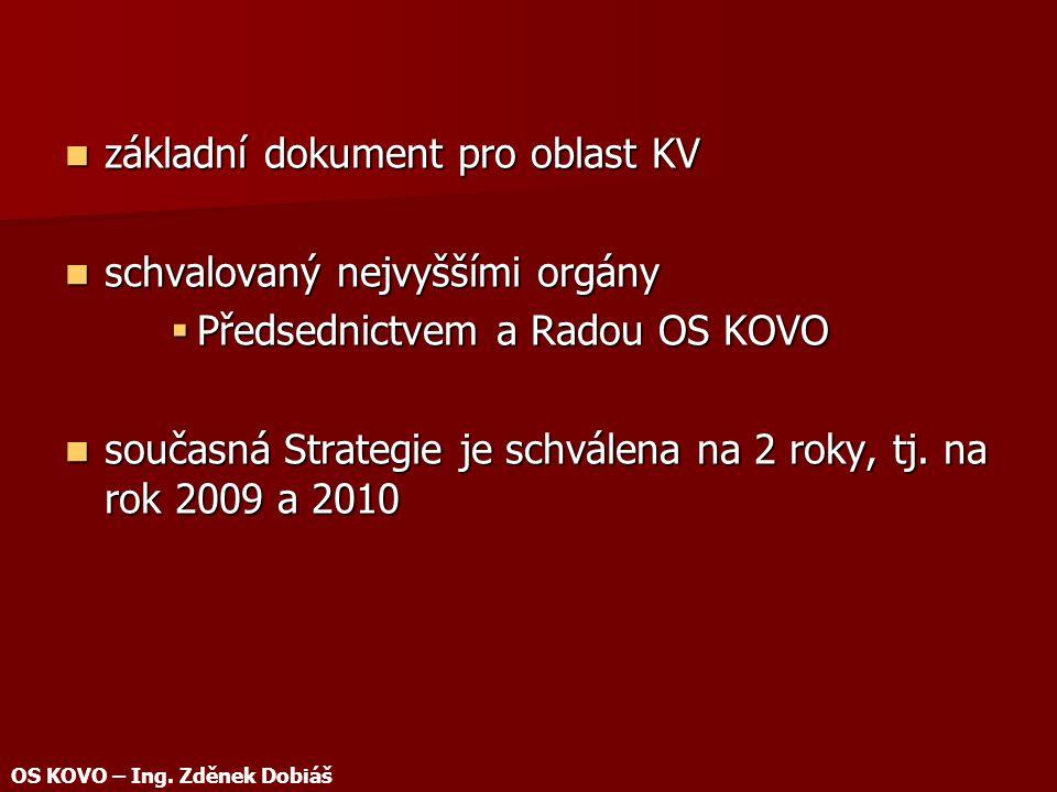 základní dokument pro oblast KV základní dokument pro oblast KV schvalovaný nejvyššími orgány schvalovaný nejvyššími orgány  Předsednictvem a Radou OS KOVO současná Strategie je schválena na 2 roky, tj.