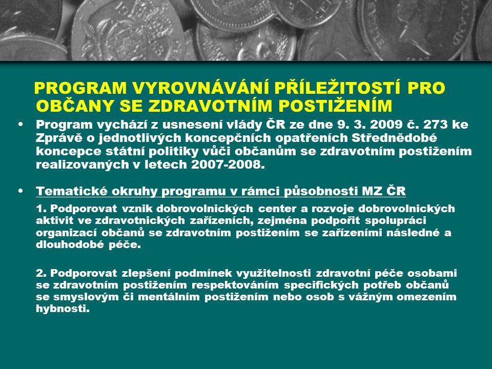 PROGRAM VYROVNÁVÁNÍ PŘÍLEŽITOSTÍ PRO OBČANY SE ZDRAVOTNÍM POSTIŽENÍM Program vychází z usnesení vlády ČR ze dne 9. 3. 2009 č. 273 ke Zprávě o jednotli