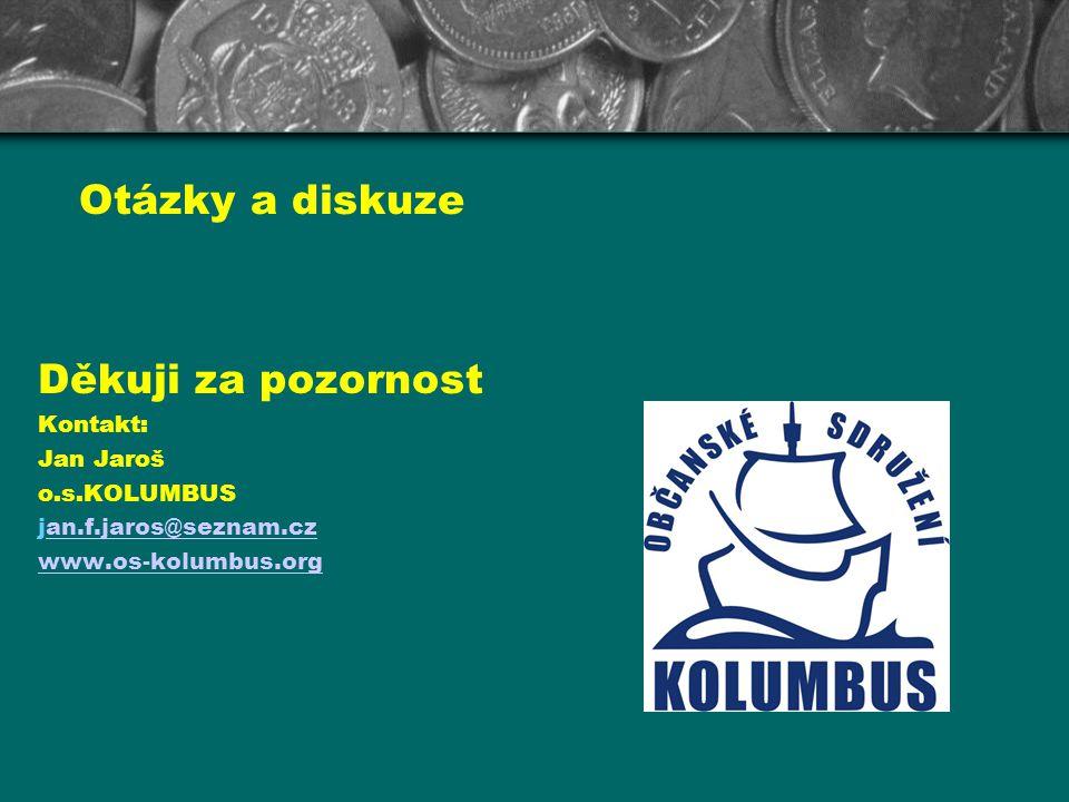Otázky a diskuze Děkuji za pozornost Kontakt: Jan Jaroš o.s.KOLUMBUS jan.f.jaros@seznam.czan.f.jaros@seznam.cz www.os-kolumbus.org