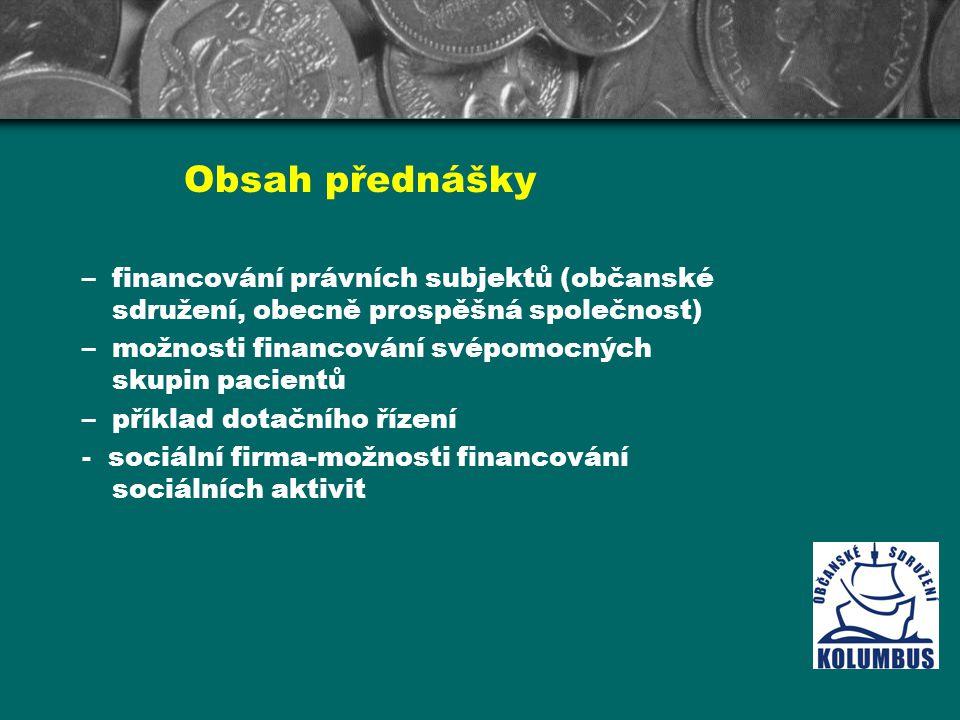 Obsah přednášky –financování právních subjektů (občanské sdružení, obecně prospěšná společnost) –možnosti financování svépomocných skupin pacientů –př