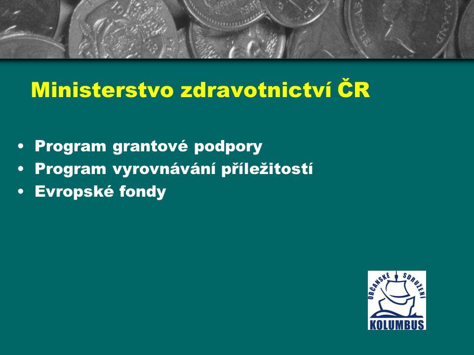 Ministerstvo zdravotnictví ČR Program grantové podpory Program vyrovnávání příležitostí Evropské fondy