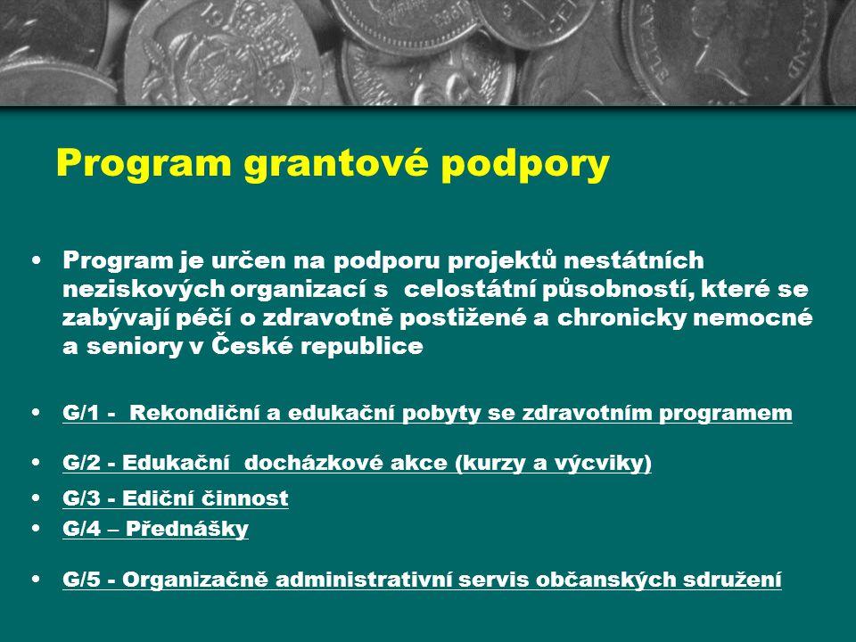 Program grantové podpory Program je určen na podporu projektů nestátních neziskových organizací s celostátní působností, které se zabývají péčí o zdra