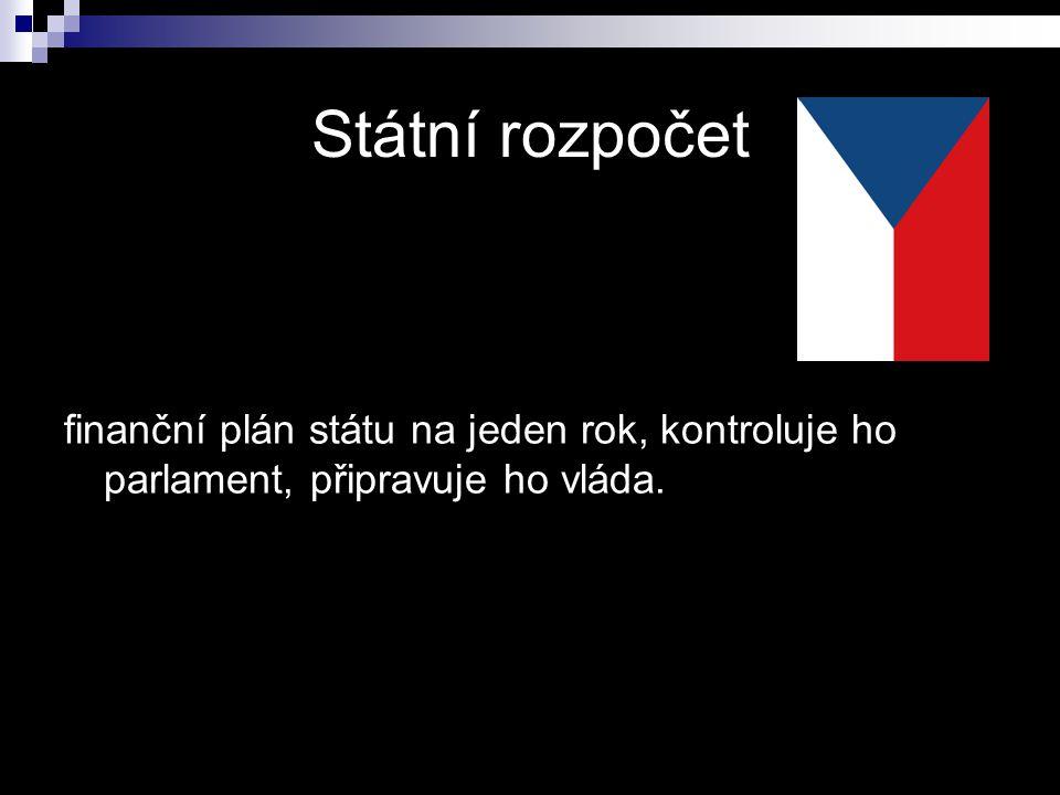 finanční plán státu na jeden rok, kontroluje ho parlament, připravuje ho vláda.