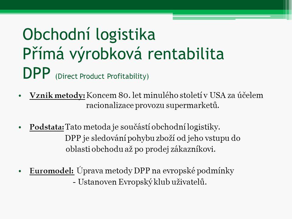 Obchodní logistika Přímá výrobková rentabilita DPP (Direct Product Profitability) Vznik metody: K oncem 80. let minulého století v USA za účelem racio