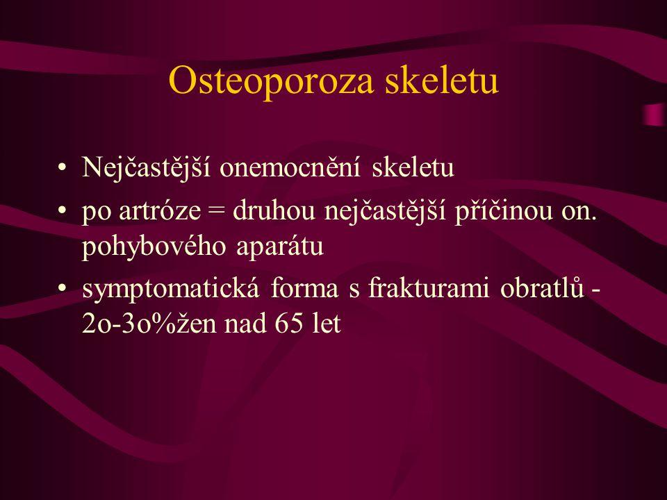Osteoporoza skeletu Nejčastější onemocnění skeletu po artróze = druhou nejčastější příčinou on.