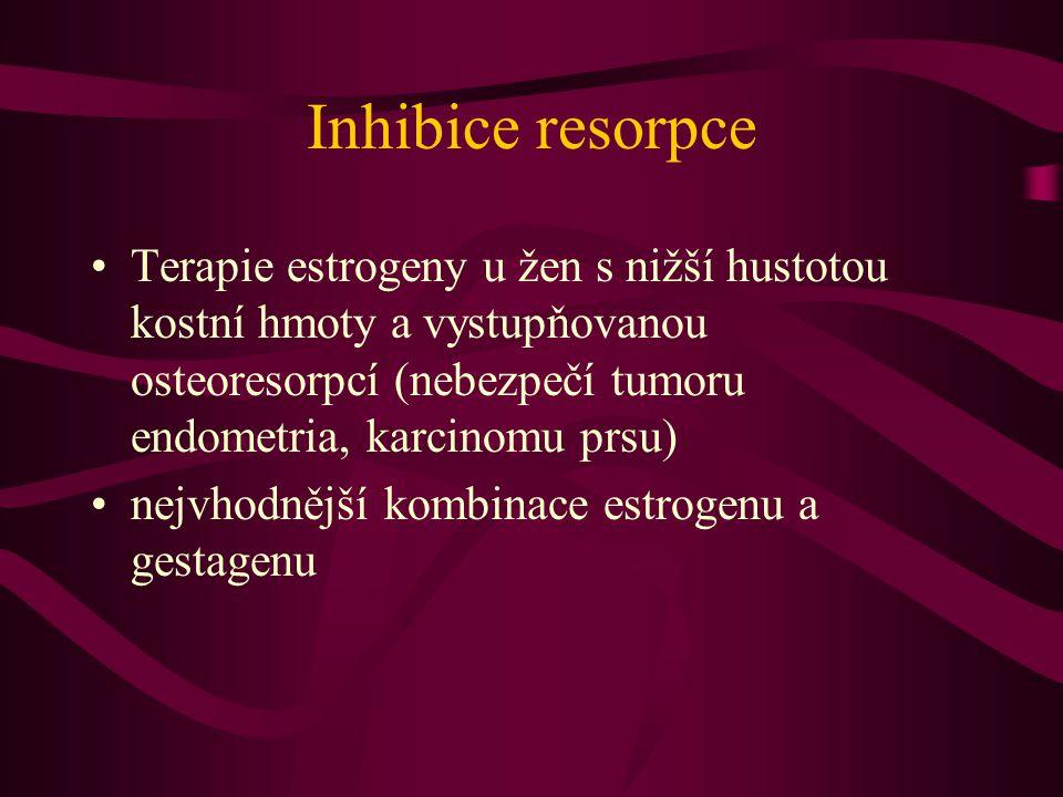 Inhibice resorpce Terapie estrogeny u žen s nižší hustotou kostní hmoty a vystupňovanou osteoresorpcí (nebezpečí tumoru endometria, karcinomu prsu) nejvhodnější kombinace estrogenu a gestagenu
