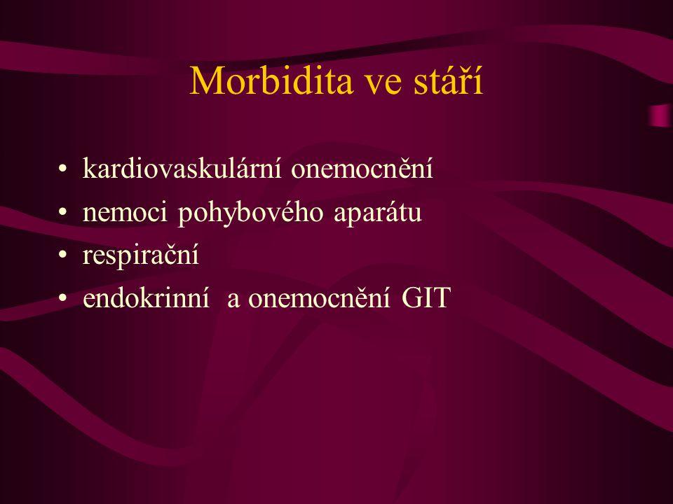 Morbidita ve stáří kardiovaskulární onemocnění nemoci pohybového aparátu respirační endokrinní a onemocnění GIT