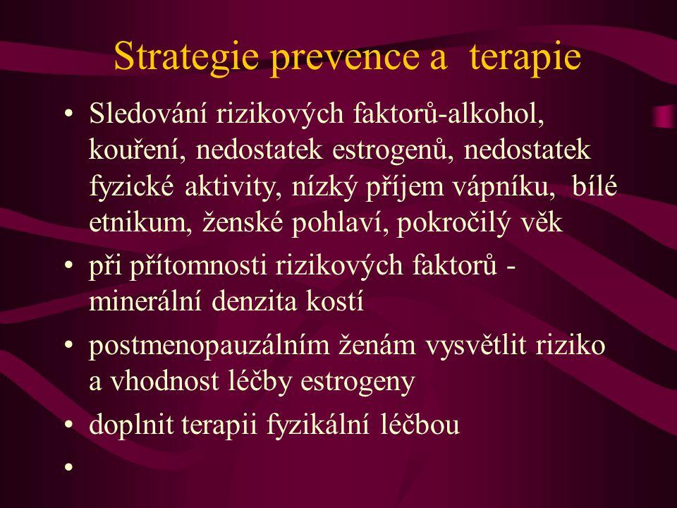 Strategie prevence a terapie Sledování rizikových faktorů-alkohol, kouření, nedostatek estrogenů, nedostatek fyzické aktivity, nízký příjem vápníku, bílé etnikum, ženské pohlaví, pokročilý věk při přítomnosti rizikových faktorů - minerální denzita kostí postmenopauzálním ženám vysvětlit riziko a vhodnost léčby estrogeny doplnit terapii fyzikální léčbou