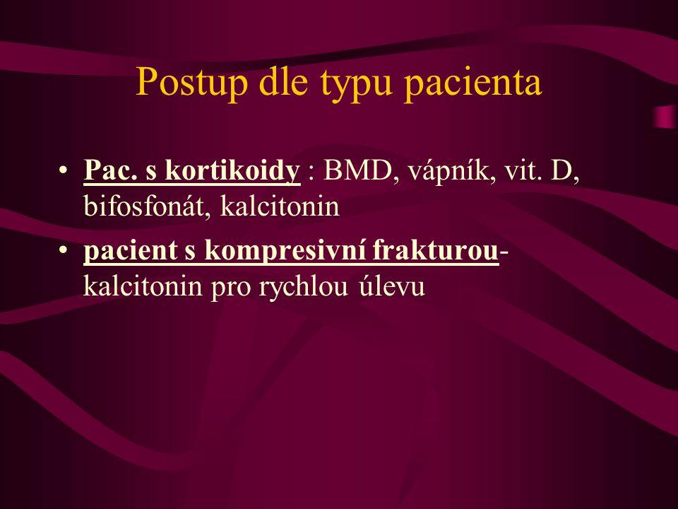 Postup dle typu pacienta Pac.s kortikoidy : BMD, vápník, vit.