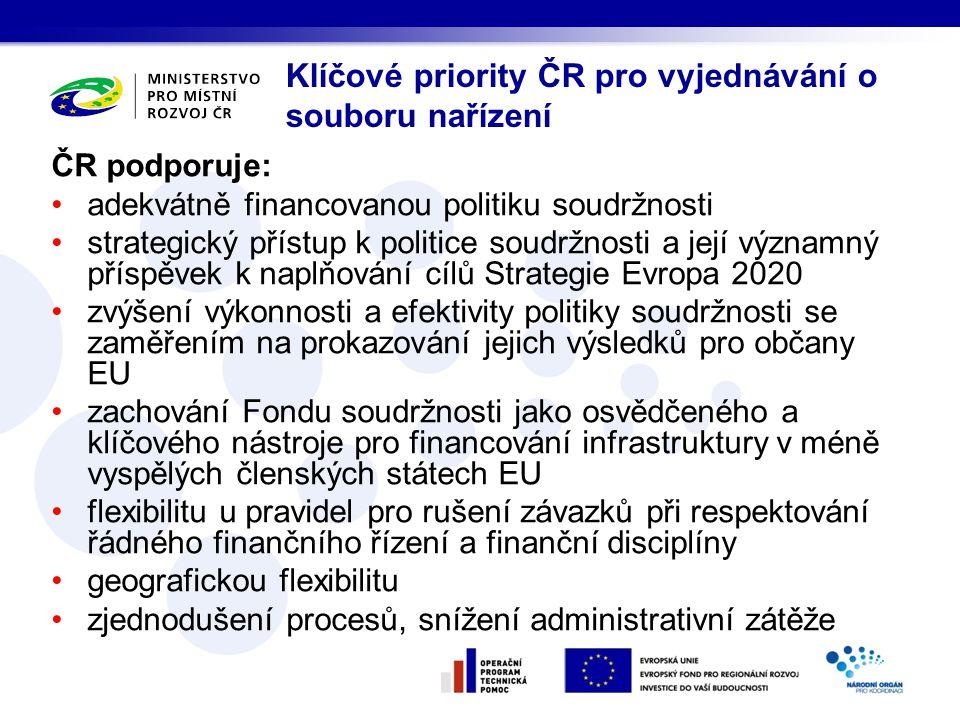 ČR odmítá a vnímá jako rizikové: pojetí tematické koncentrace z pohledu EK vyčlenění prostředků Fondu soudržnosti do nového Nástroje k propojení Evropy pojetí dokumentu Smlouva o partnerství omezení způsobilosti DPH oproti současné praxi extenzívní výklad pravomocí EK v rámci výkonu přenesené pravomoci Klíčové priority ČR pro vyjednávání o souboru nařízení