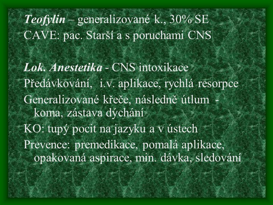 Teofylin – generalizované k., 30% SE CAVE: pac. Starší a s poruchami CNS Lok. Anestetika - CNS intoxikace Předávkování, i.v. aplikace, rychlá resorpce