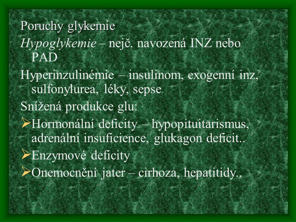 Poruchy glykemie Hypoglykemie – nejč. navozená INZ nebo PAD Hyperinzulinémie – insulinom, exogenní inz, sulfonylurea, léky, sepse Snížená produkce glu