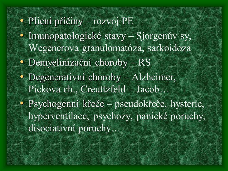 Plicní příčiny Plicní příčiny – rozvoj PE Imunopatologické stavy Imunopatologické stavy – Sjorgenův sy, Wegenerova granulomatóza, sarkoidoza Demyelini