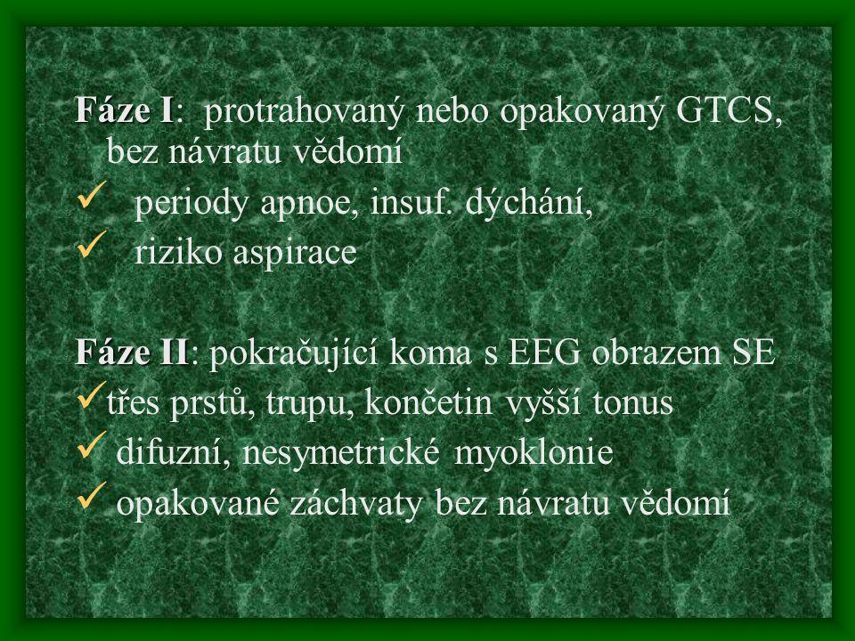 Fáze I Fáze I: protrahovaný nebo opakovaný GTCS, bez návratu vědomí periody apnoe, insuf. dýchání, riziko aspirace Fáze II Fáze II: pokračující koma s