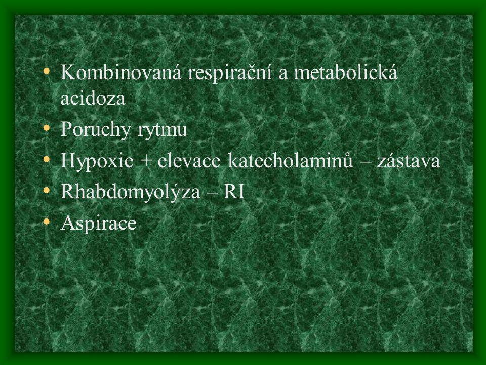 Kombinovaná respirační a metabolická acidoza Poruchy rytmu Hypoxie + elevace katecholaminů – zástava Rhabdomyolýza – RI Aspirace