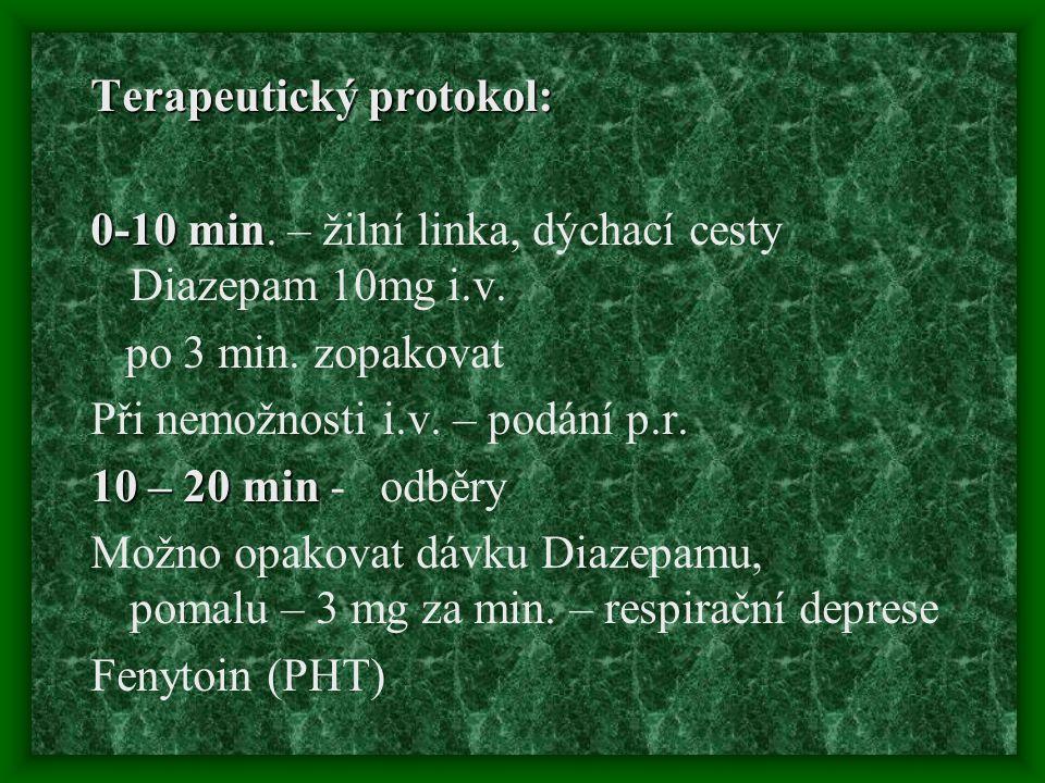 Terapeutický protokol: 0-10 min 0-10 min. – žilní linka, dýchací cesty Diazepam 10mg i.v. po 3 min. zopakovat Při nemožnosti i.v. – podání p.r. 10 – 2