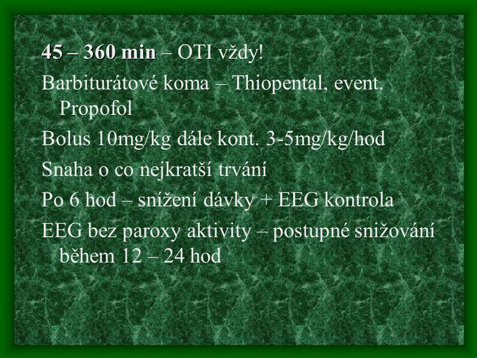 45 – 360 min 45 – 360 min – OTI vždy! Barbiturátové koma – Thiopental, event. Propofol Bolus 10mg/kg dále kont. 3-5mg/kg/hod Snaha o co nejkratší trvá