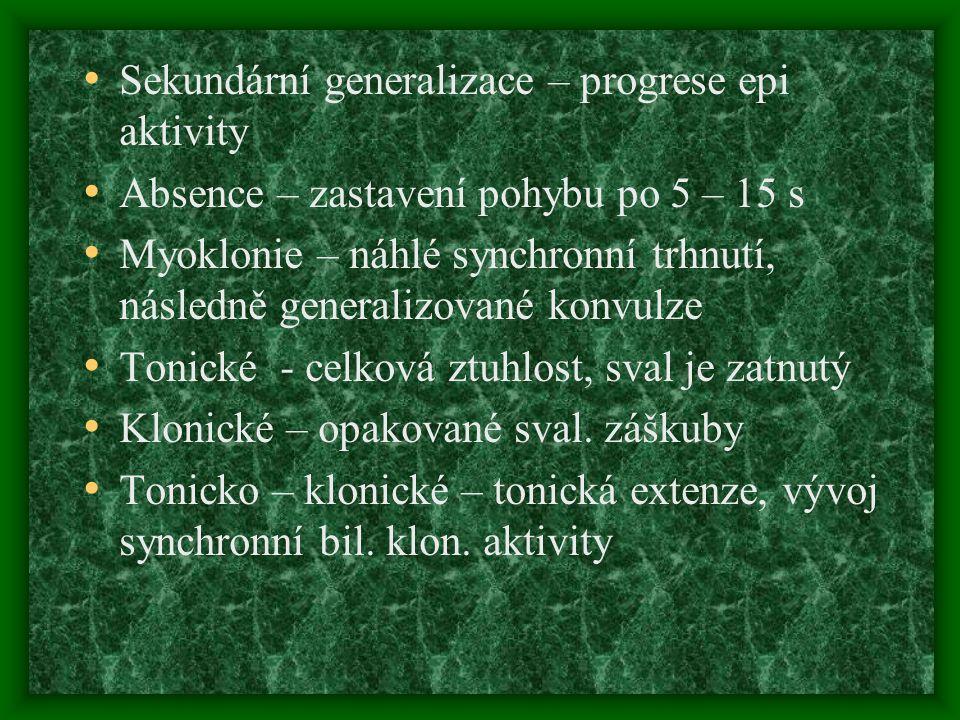 Sekundární generalizace – progrese epi aktivity Absence – zastavení pohybu po 5 – 15 s Myoklonie – náhlé synchronní trhnutí, následně generalizované k