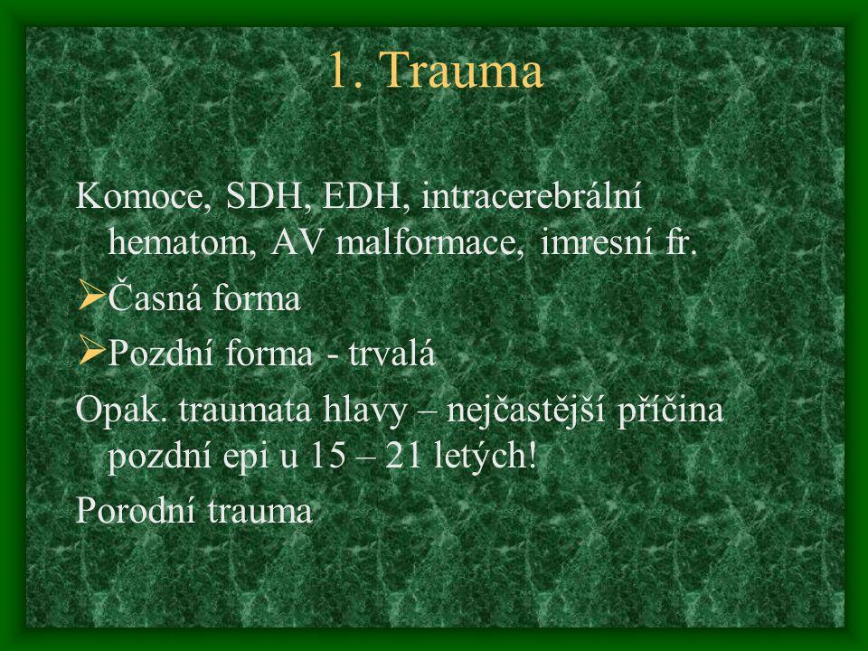 1. Trauma Komoce, SDH, EDH, intracerebrální hematom, AV malformace, imresní fr.  Časná forma  Pozdní forma - trvalá Opak. traumata hlavy – nejčastěj