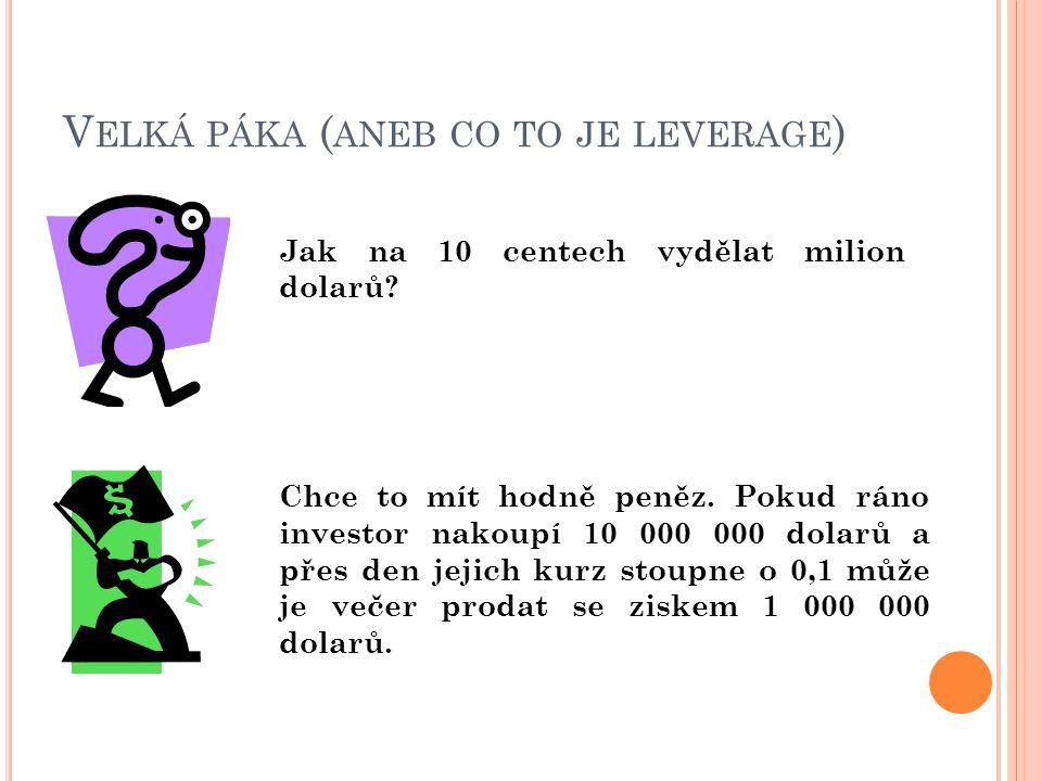 V ELKÁ PÁKA ( ANEB CO TO JE LEVERAGE ) Jak na 10 centech vydělat milion dolarů.