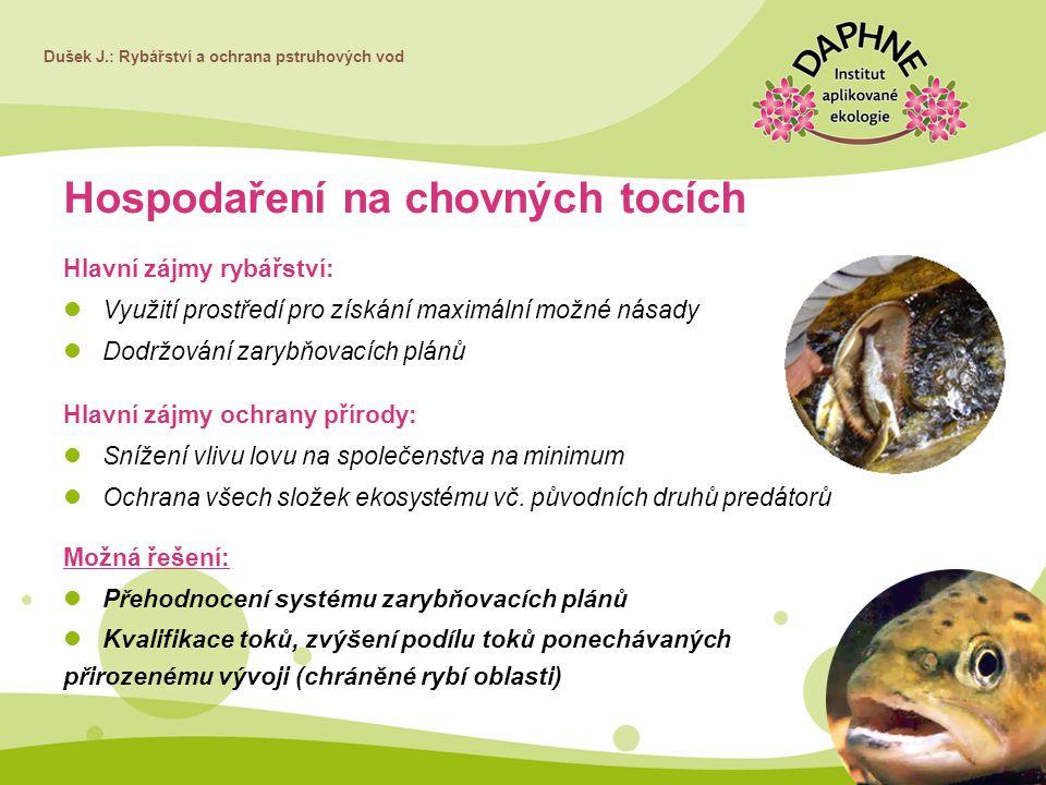 Dušek J.: Rybářství a ochrana pstruhových vod Hospodaření na chovných tocích Hlavní zájmy rybářství: Využití prostředí pro získání maximální možné nás