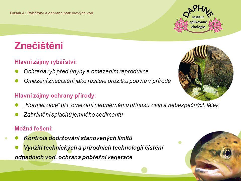 Dušek J.: Rybářství a ochrana pstruhových vod Znečištění Hlavní zájmy rybářství: Ochrana ryb před úhyny a omezením reprodukce Omezení znečištění jako