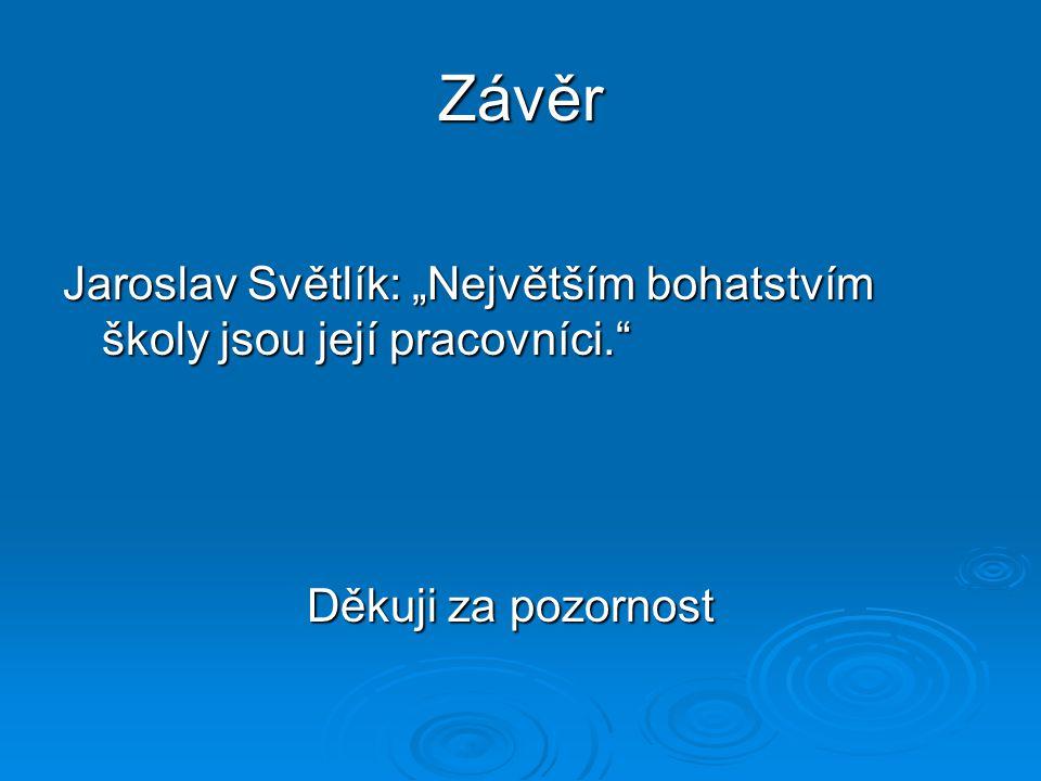 """Závěr Jaroslav Světlík: """"Největším bohatstvím školy jsou její pracovníci."""" Děkuji za pozornost Děkuji za pozornost"""
