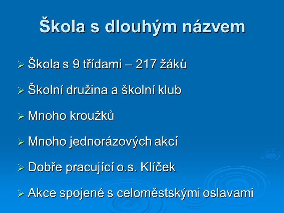Škola s dlouhým názvem  Škola s 9 třídami – 217 žáků  Školní družina a školní klub  Mnoho kroužků  Mnoho jednorázových akcí  Dobře pracující o.s.