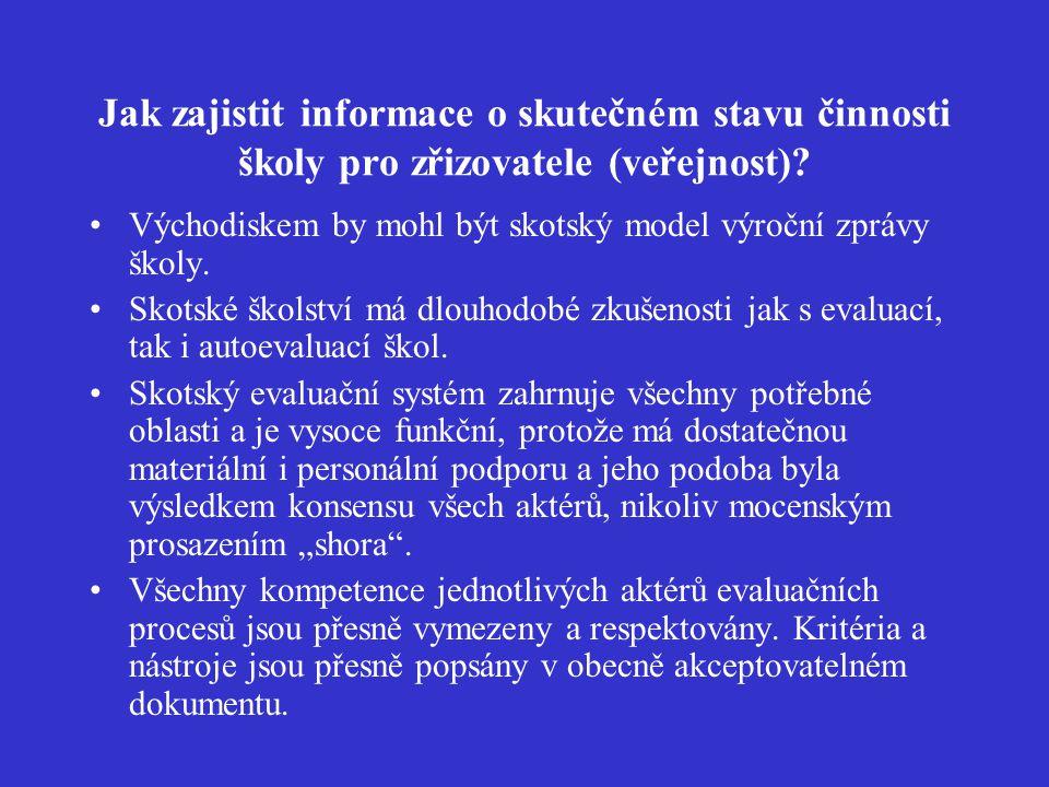 Jak zajistit informace o skutečném stavu činnosti školy pro zřizovatele (veřejnost).