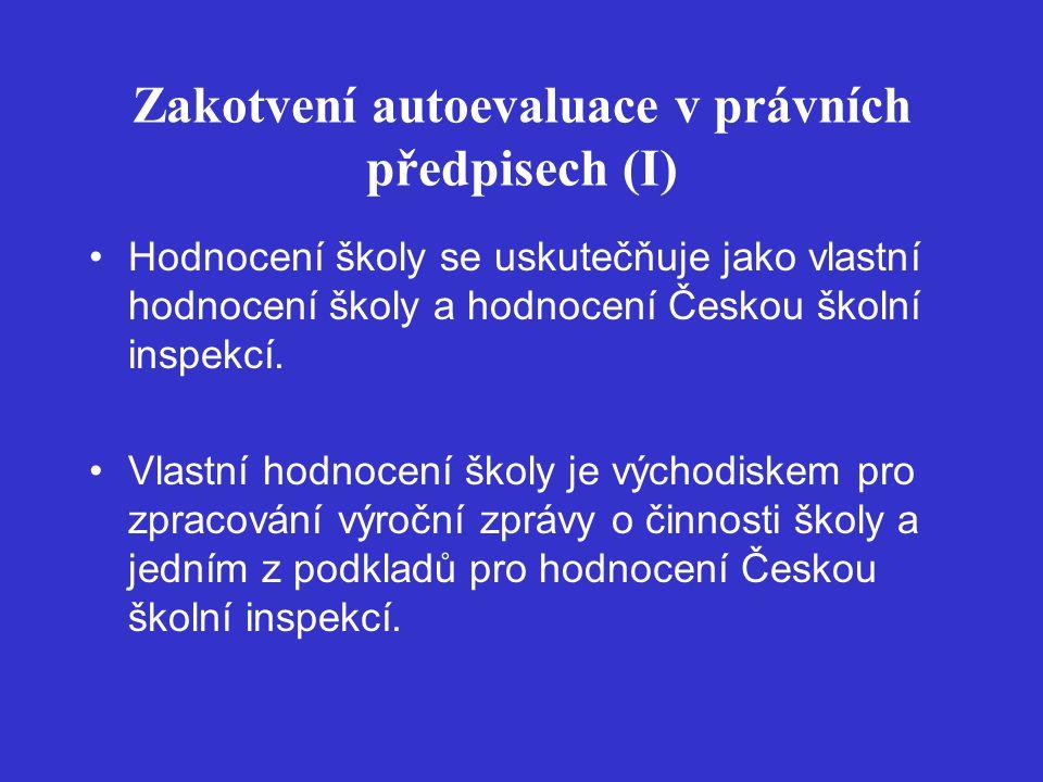 Zakotvení autoevaluace v právních předpisech (I) Hodnocení školy se uskutečňuje jako vlastní hodnocení školy a hodnocení Českou školní inspekcí.