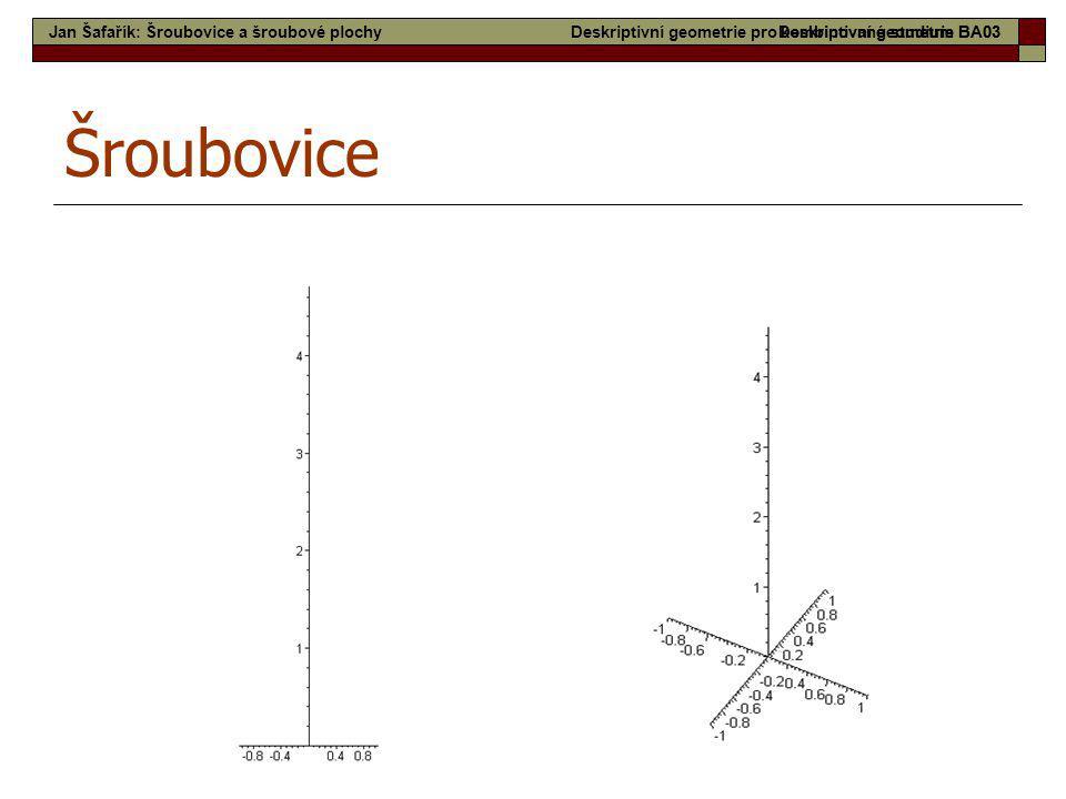 10 Šroubovice Deskriptivní geometrie pro kombinované studium BA03Jan Šafařík: Šroubovice a šroubové plochyDeskriptivní geometrie BA03