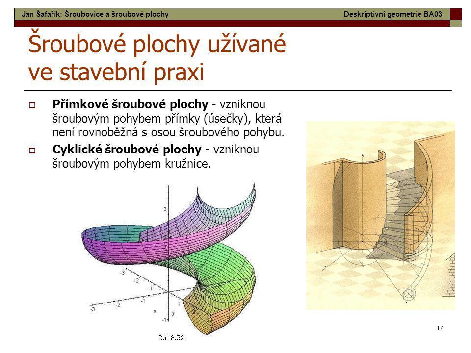 17 Šroubové plochy užívané ve stavební praxi  Přímkové šroubové plochy - vzniknou šroubovým pohybem přímky (úsečky), která není rovnoběžná s osou šro