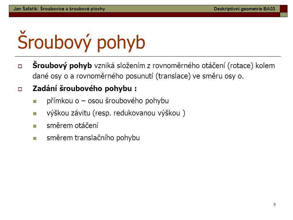 30 Tobogán Jan Šafařík: Šroubovice a šroubové plochyDeskriptivní geometrie BA03