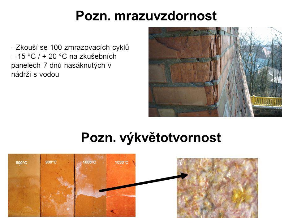 Pozn. mrazuvzdornost - Zkouší se 100 zmrazovacích cyklů – 15 °C / + 20 °C na zkušebních panelech 7 dnů nasáknutých v nádrži s vodou Pozn. výkvětotvorn