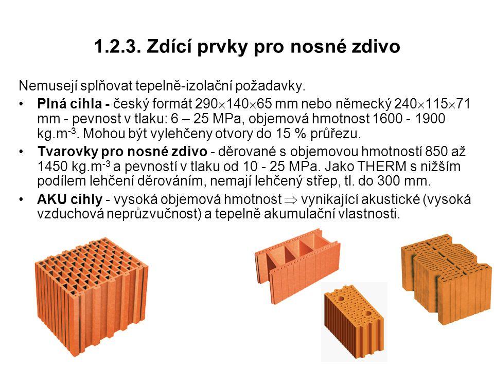 1.2.3. Zdící prvky pro nosné zdivo Nemusejí splňovat tepelně-izolační požadavky. Plná cihla - český formát 290  140  65 mm nebo německý 240  115 