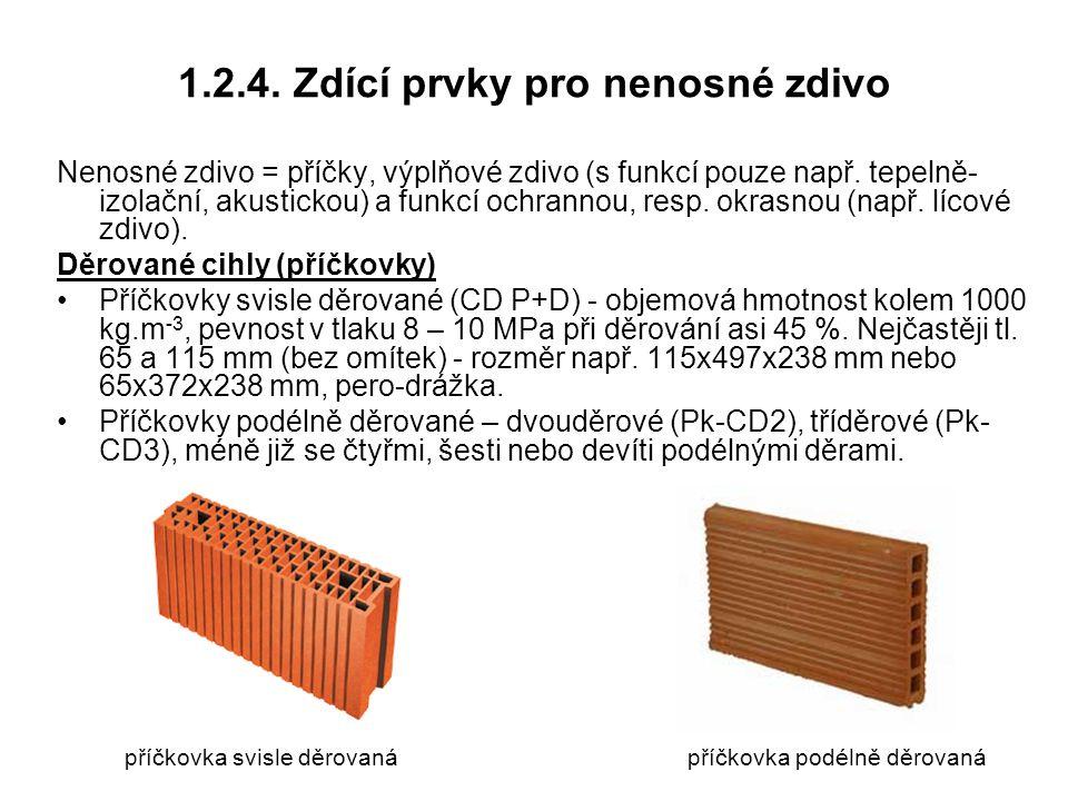 1.2.4. Zdící prvky pro nenosné zdivo Nenosné zdivo = příčky, výplňové zdivo (s funkcí pouze např. tepelně- izolační, akustickou) a funkcí ochrannou, r