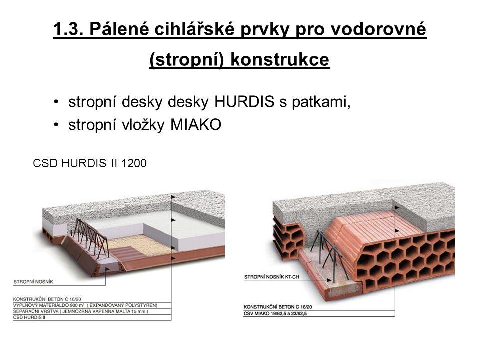 1.3. Pálené cihlářské prvky pro vodorovné (stropní) konstrukce stropní desky desky HURDIS s patkami, stropní vložky MIAKO CSD HURDIS II 1200
