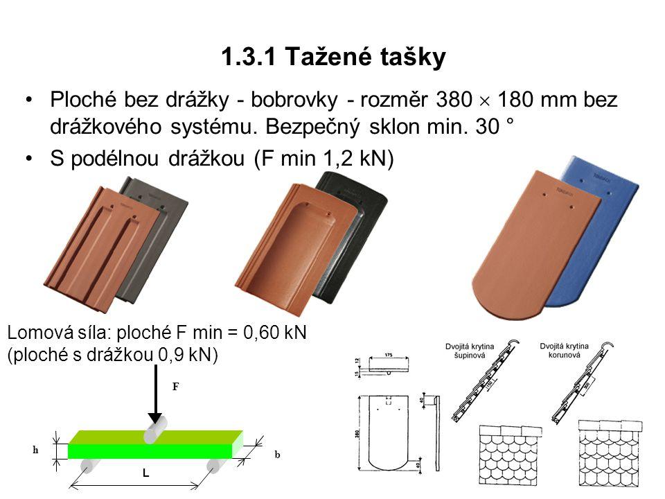 1.3.1 Tažené tašky Ploché bez drážky - bobrovky - rozměr 380  180 mm bez drážkového systému. Bezpečný sklon min. 30 ° S podélnou drážkou (F min 1,2 k
