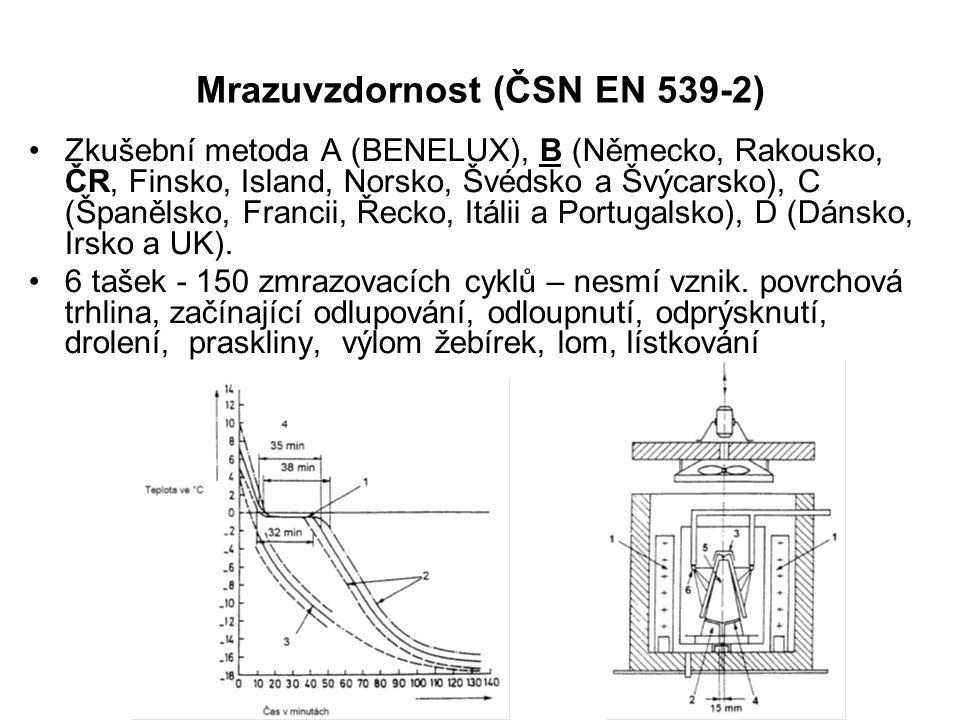 Mrazuvzdornost (ČSN EN 539-2) Zkušební metoda A (BENELUX), B (Německo, Rakousko, ČR, Finsko, Island, Norsko, Švédsko a Švýcarsko), C (Španělsko, Franc