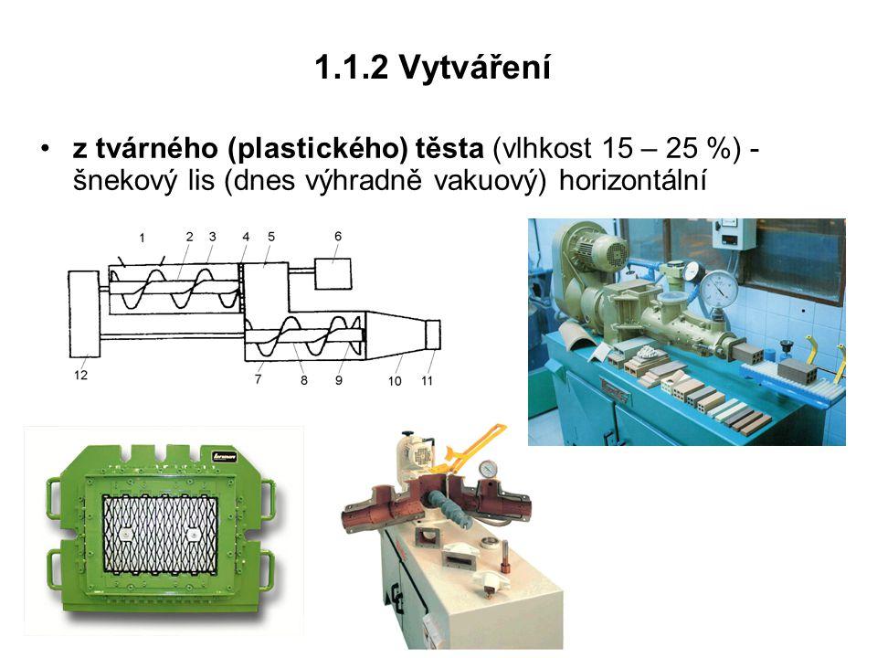 1.1.2 Vytváření z tvárného (plastického) těsta (vlhkost 15 – 25 %) - šnekový lis (dnes výhradně vakuový) horizontální