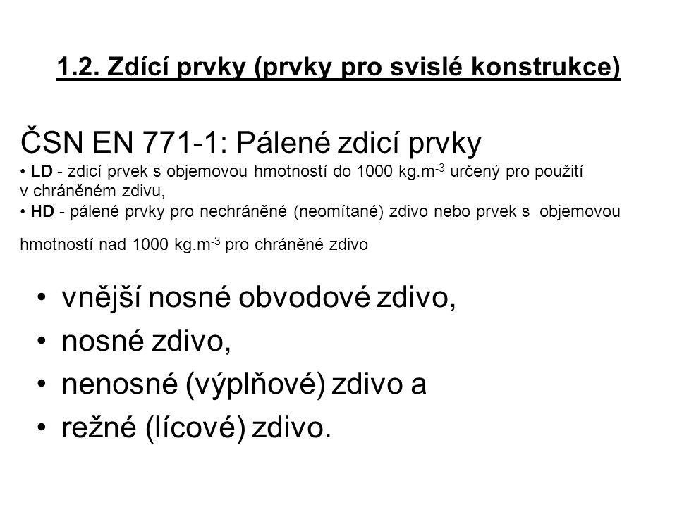 1.2. Zdící prvky (prvky pro svislé konstrukce) vnější nosné obvodové zdivo, nosné zdivo, nenosné (výplňové) zdivo a režné (lícové) zdivo. ČSN EN 771-1