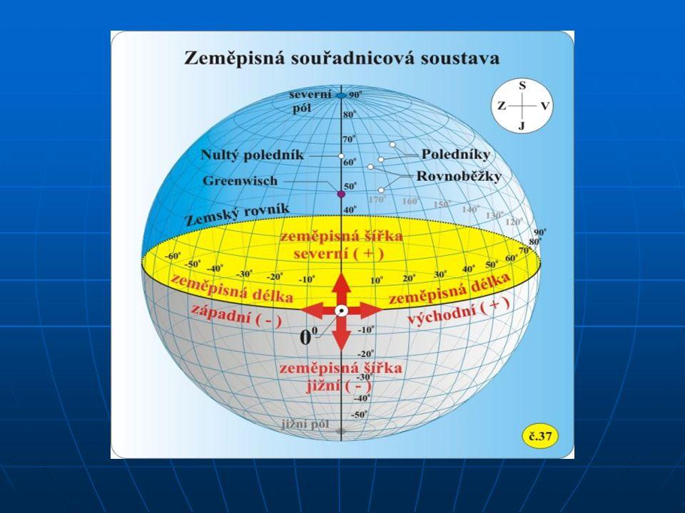 Zeměpisná šířka Zeměpisná šířka určuje polohu na povrchu Země směrem k severu nebo jihu od rovníku.