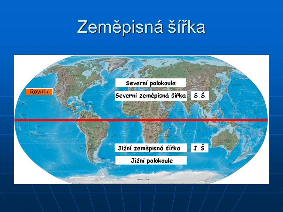 Zeměpisná šířka Křivky se stejnou zeměpisnou šířkou jsou rovnoběžky.