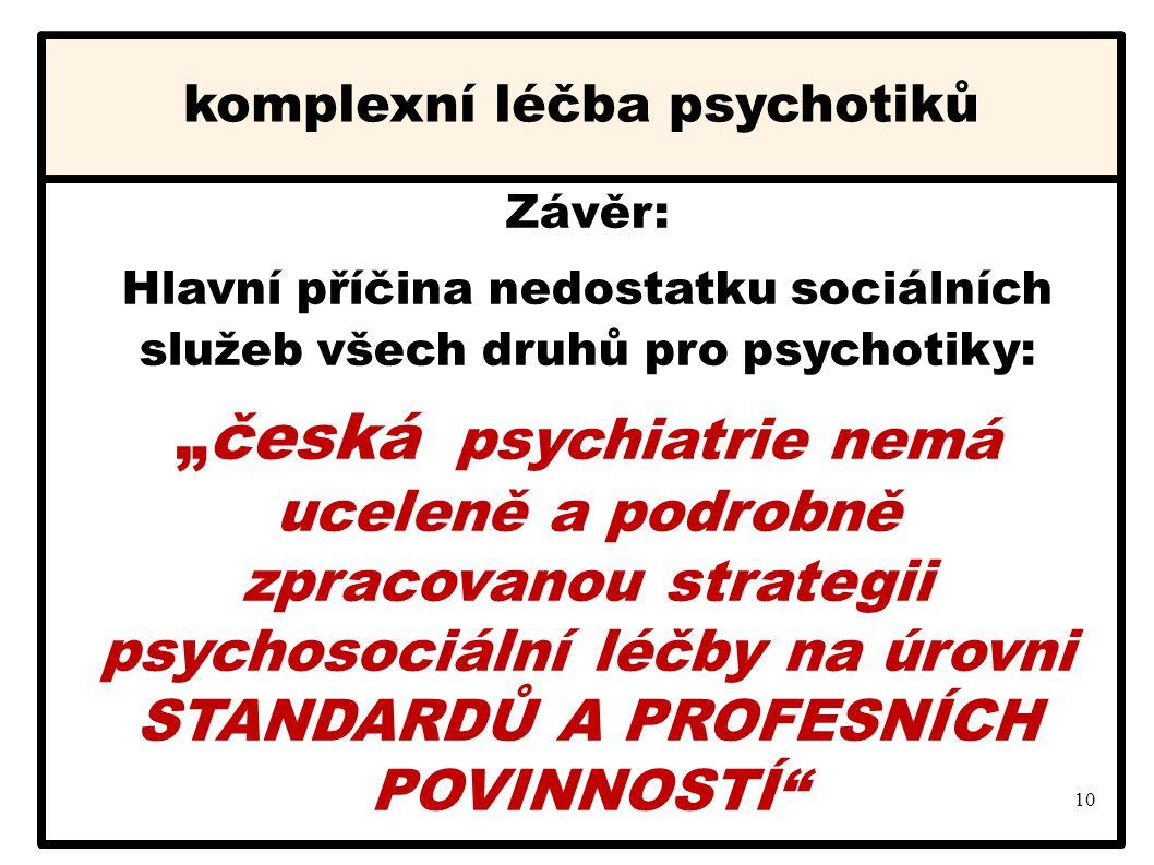 """10 komplexní léčba psychotiků Závěr: Hlavní příčina nedostatku sociálních služeb všech druhů pro psychotiky: """"česká psychiatrie nemá uceleně a podrobn"""